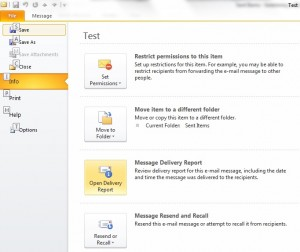 Outlook Message Delivery Report